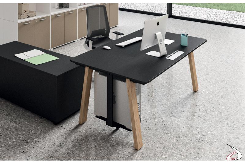 Scrivania ufficio operativa nera con porta cpu e top access