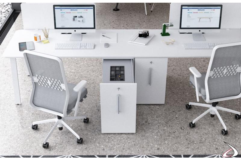 Cassettiera ufficio moderna con anta estraibile e vaschetta porta cancelleria