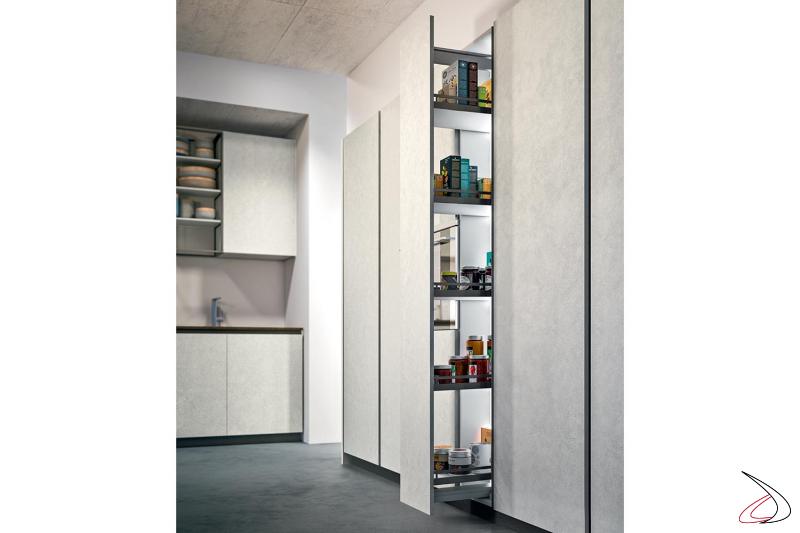 Cuisine moderne en mélamine effet ciment avec meuble haut coulissant
