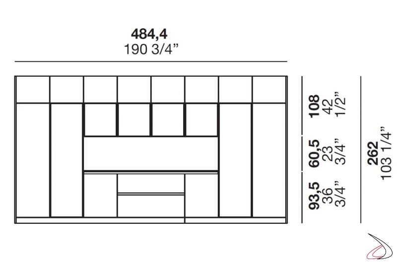 Mesures de la cuisine de niche sur mesure avec vitrines et meubles hauts