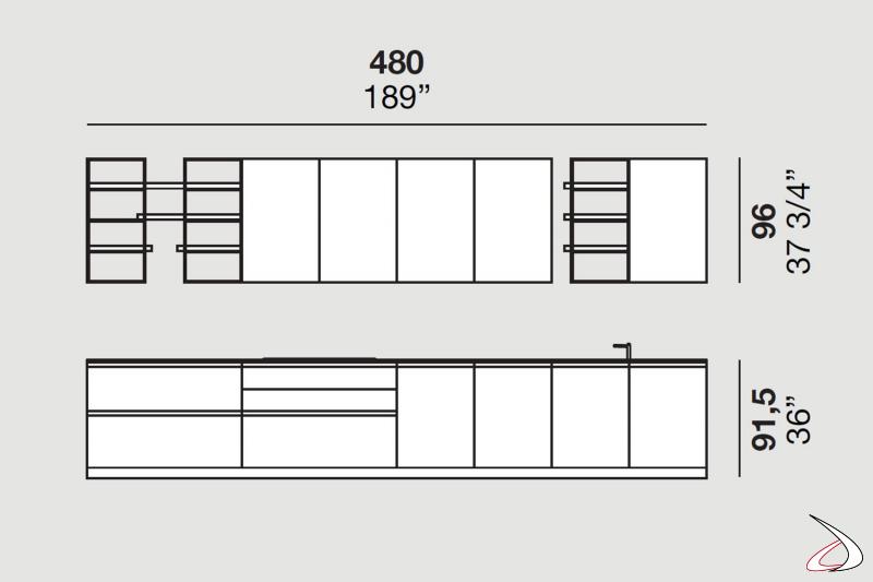 Cuisine linéaire modulaire avec éléments hauts