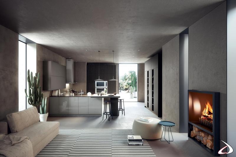 Cocina de diseño modular con península completa con electrodomésticos