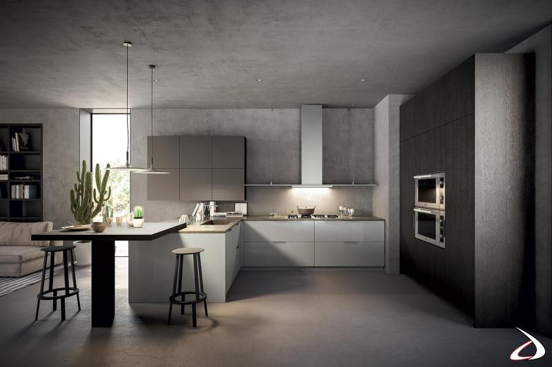 Moderna cocina con península y mesa alta de aperitivos, completa con electrodomésticos y campana de diseño