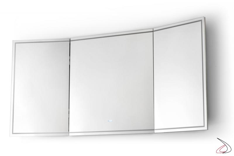Specchiera da bagno grande di design retroilluminata con ante chiudibili