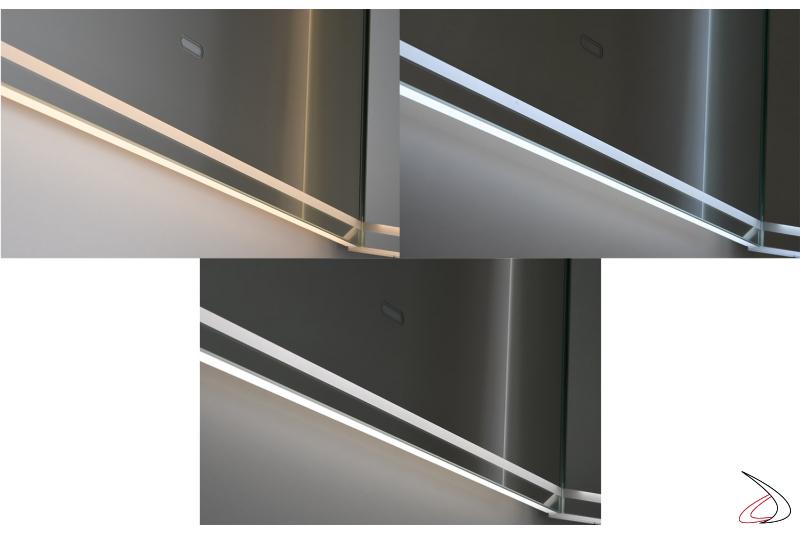 Specchiera design retroilluminata a led con tre differenti colorazioni