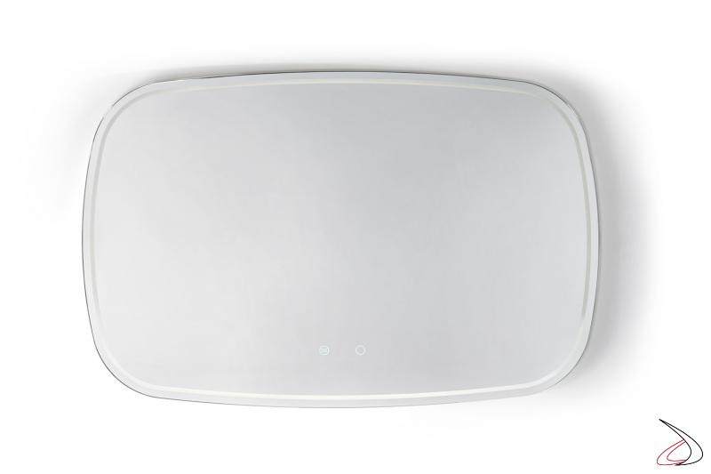 Specchiera grande orizzontale moderna retroilluminato a led con funzione antiappannamento