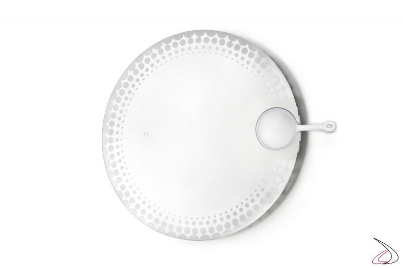 Specchio retroilluminato a led di design con specchio ingranditore removibile