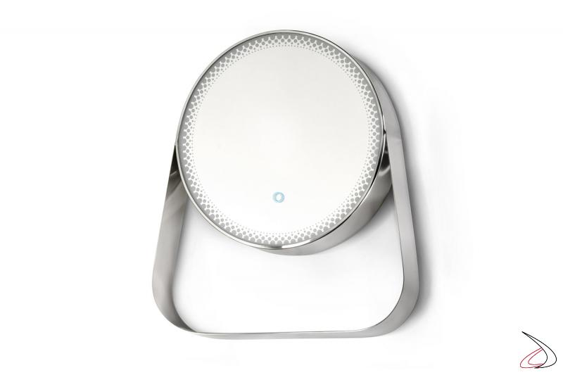 Specchiera rotonda di desgin con struttura in acciaio e illuminazione a led perimatrale
