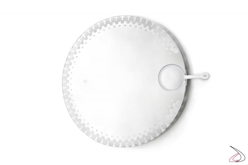 Specchiera rotonda da bagno retroilluminata con specchietto ingranditore removibile