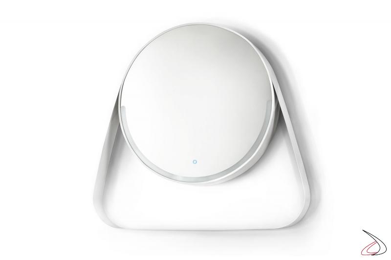 Specchiera bianca di design rotonda con mensola e illuminazione a led