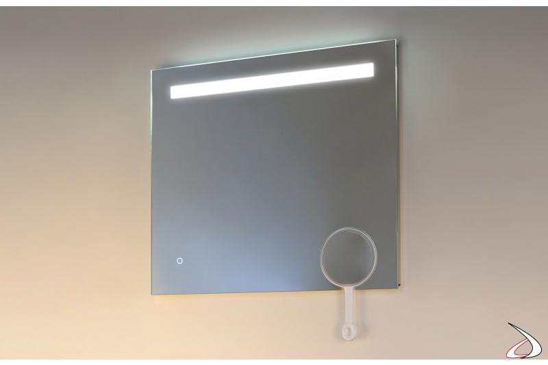 Specchiera rettangolare con illuminazione a led e specchietto ingranditore removibile