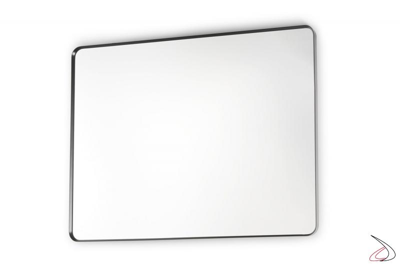 Specchiera moderna con sottile cornice in alluminio nero opaco