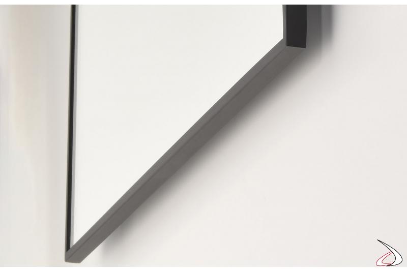 Specchiera con profilo in acciaio inossidabile nero opaco