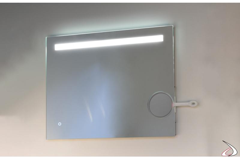 Specchiera moderna retroilluminata a led da bagno con specchietto removibile ingranditore