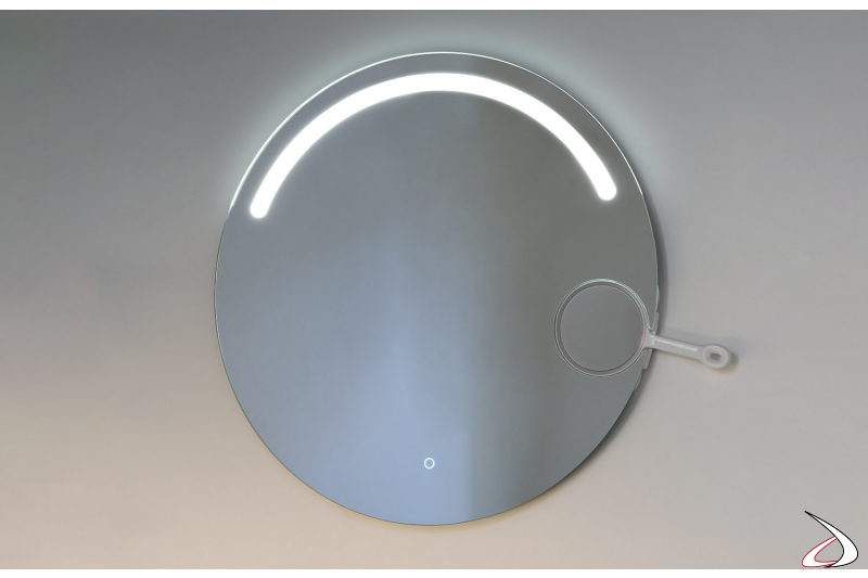 Specchiera rotonda retroilluminata a led con specchietto ingranditore removibile