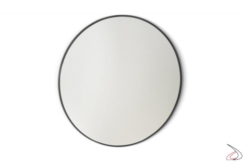 Specchio rotondo moderno con cornice in acciaio inossidabile nero opaco