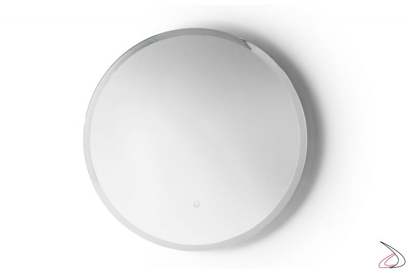 Specchio rotondo da bagno con luci led a ricreare i raggi del sole