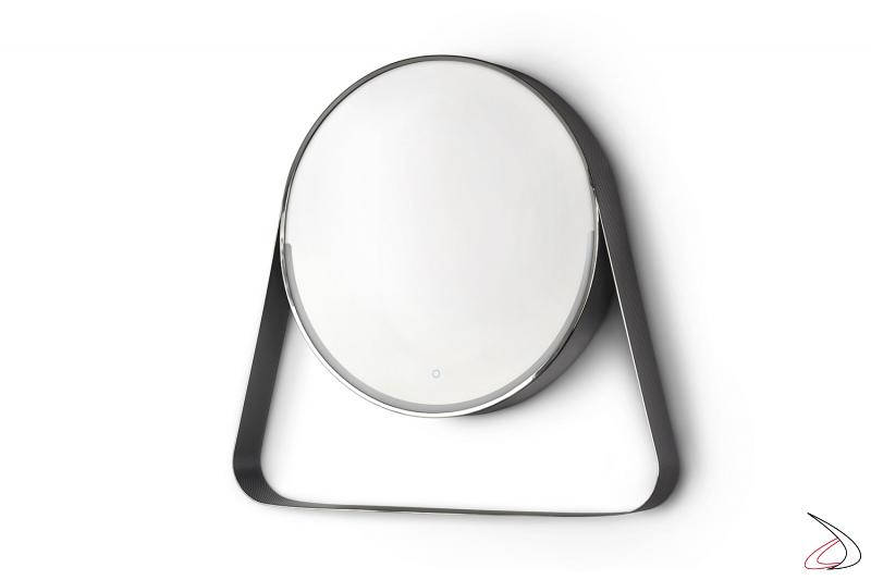 Specchio moderno da bagno rotondo retroilluminato a led con mensola porta cosmetici