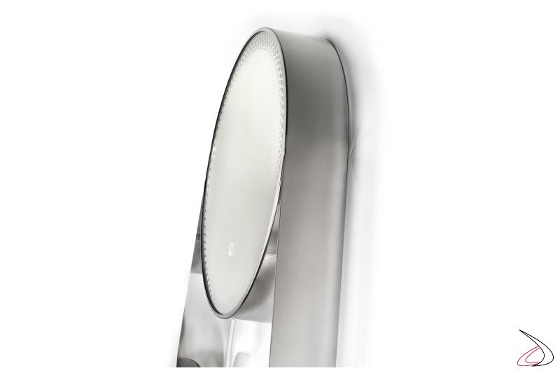 Specchio moderno da bagno rotondo in acciaio inossidabile con mensola