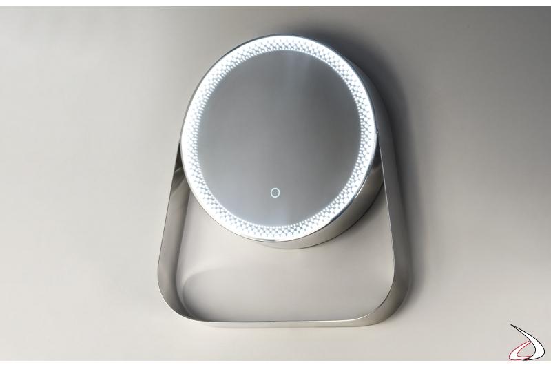 Specchiera di design rotonda con mensola e illuminazione led
