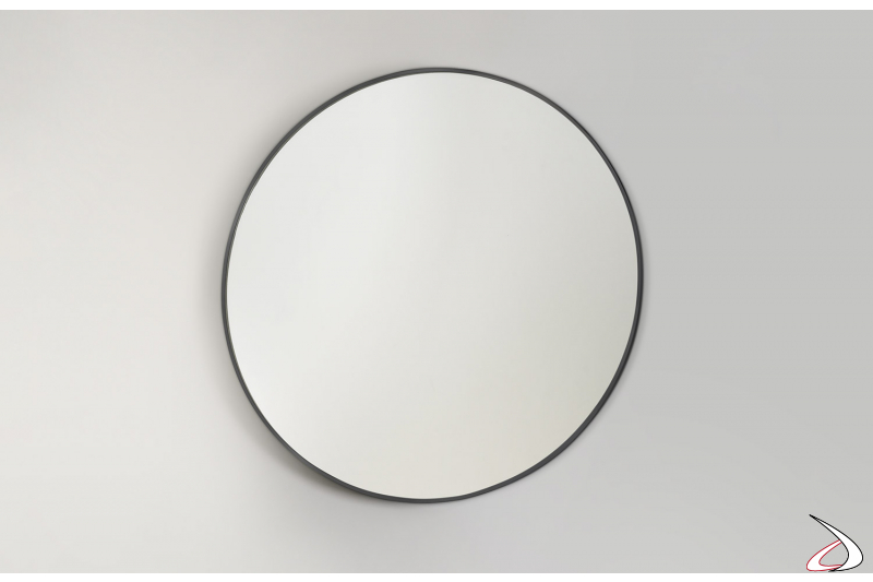 Specchiera rotonda con sottile cornice in acciaio inossidabile nera opaco