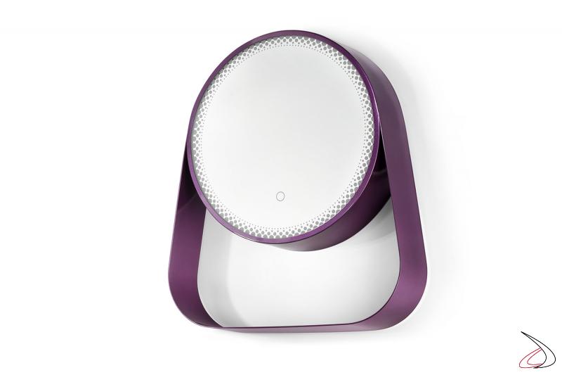 Specchio viola da bagno rotondo con mensola e illuminazione led sul bordo