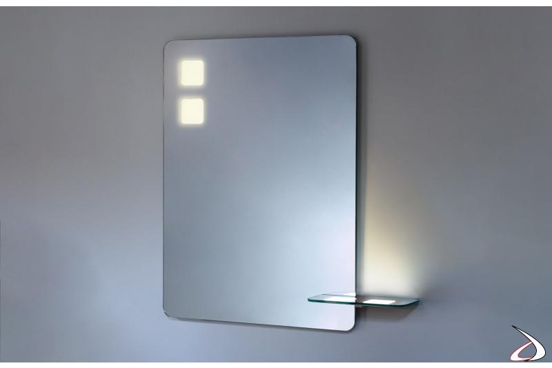 Specchio design con mensola e con angoli arrotondati e retroilluminazione OLED