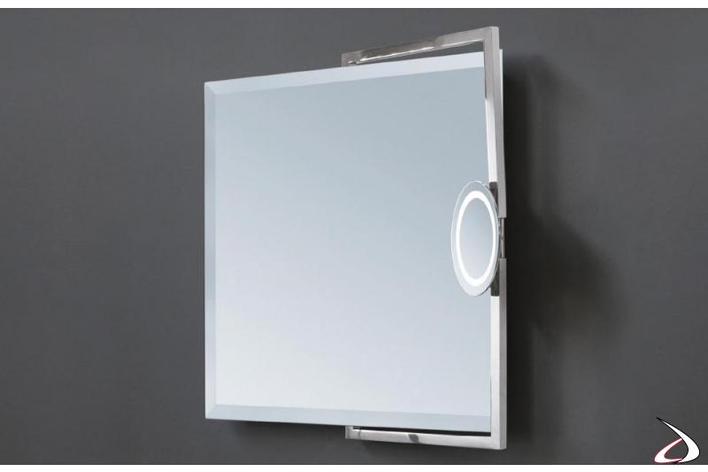 Specchiera con vetro bisellato, ingranditore orientabile e luci Led