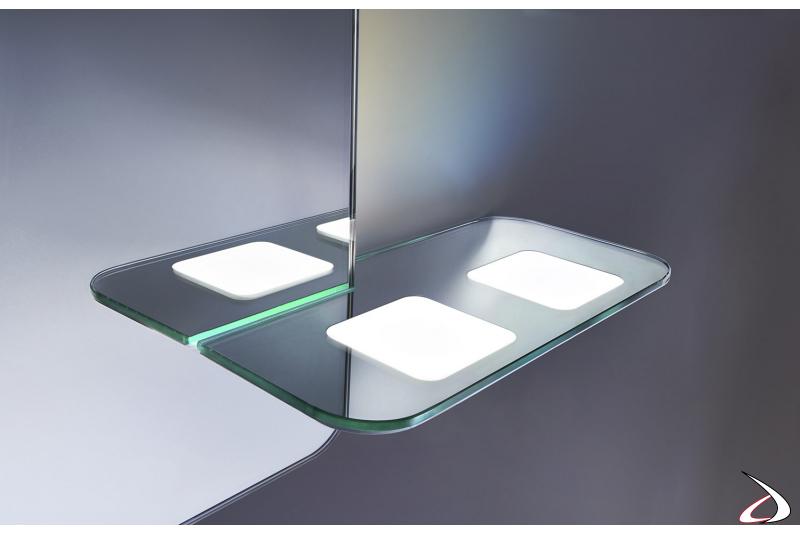 Specchiera con mensolina porta spazzolino retroilluminata OLED