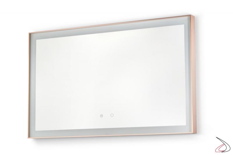 Specchiera rettangolare da bagno con cornice in alluminio oro rosa