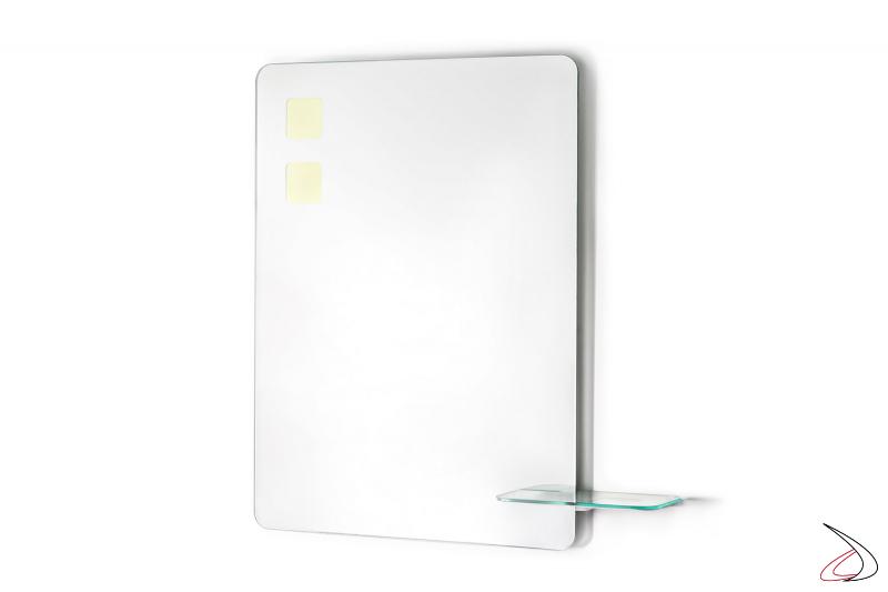Specchio design con angoli arrotondati e retroilluminazione OLED
