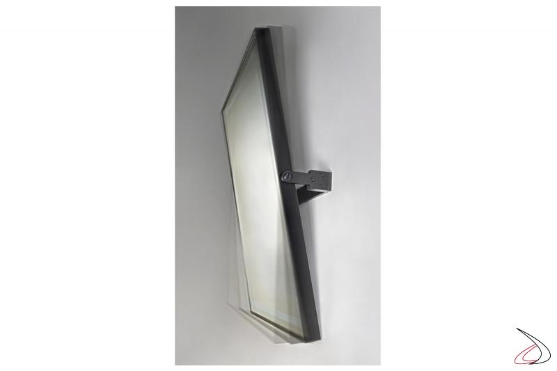 Specchio moderno da bagno inclinabile fino a 22° con telaio in metallo