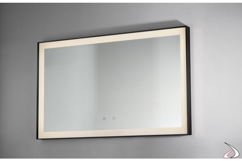 Specchio moderno da bagno retroilluminato a led con funzione antiappannamento