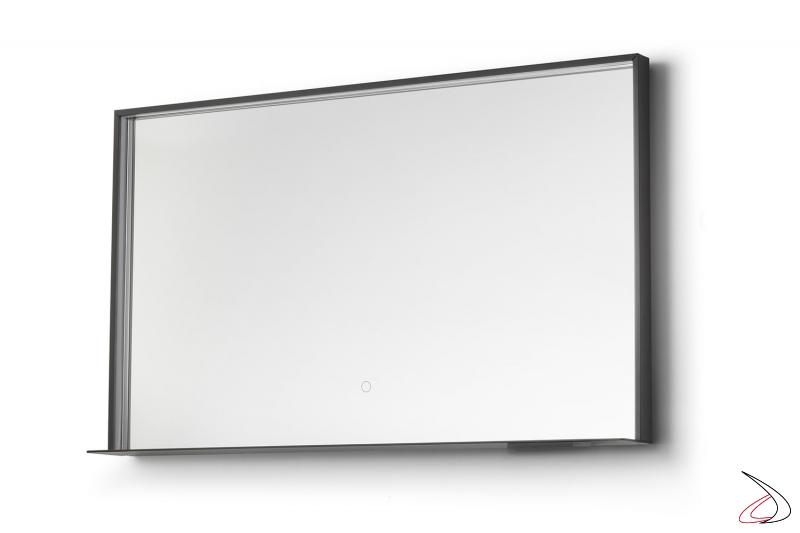 Specchiera moderna retroilluminata led con mensola ricarica telefono wireless