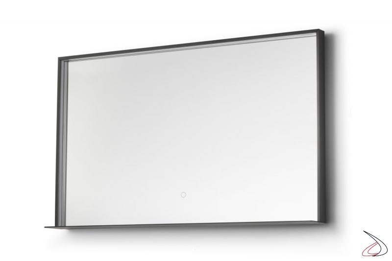 Specchio orizzontale da bagno con mensola, illuminazione a led e funzione antiappannamento