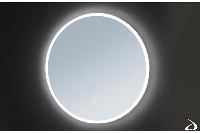 Specchio rotondo grande retroilluminato con luce led