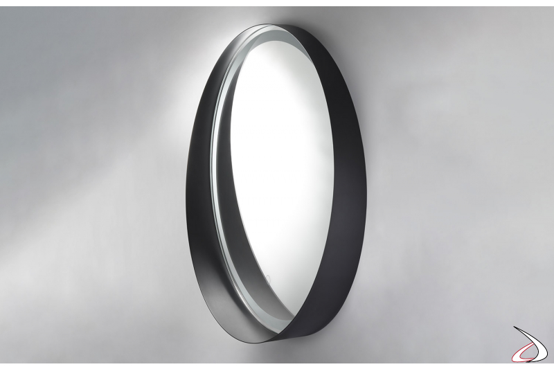 Specchio moderno rotondo da bagno retroilluminato con cornice in metallo