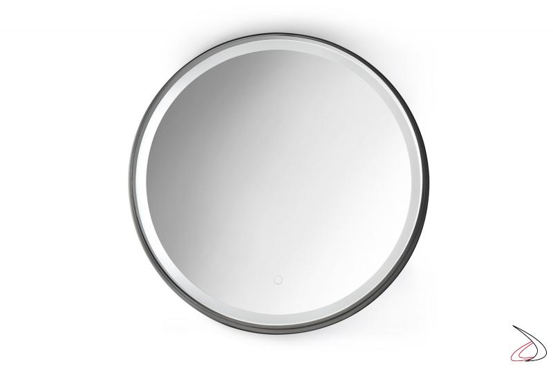 Specchio rotondo retroilluminato con cornice e funzione antiappannamento