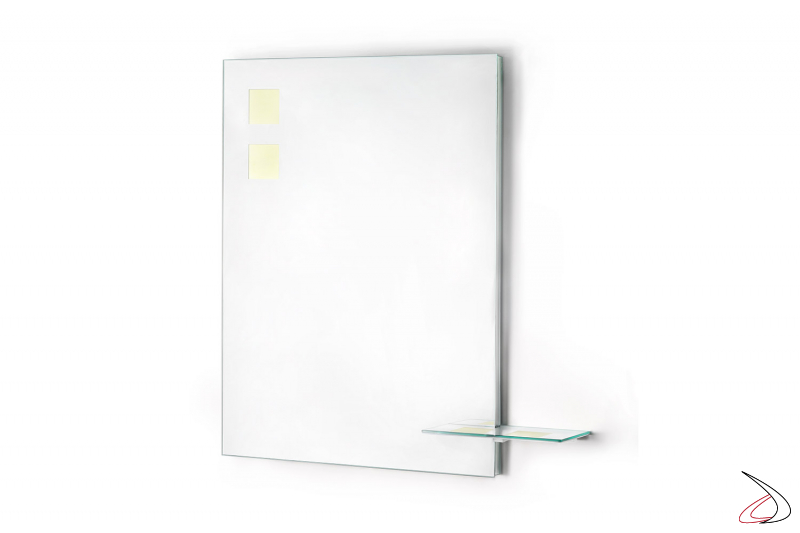 Specchiera bagno moderna con mensola porta oggetti e retroilluminazione OLED