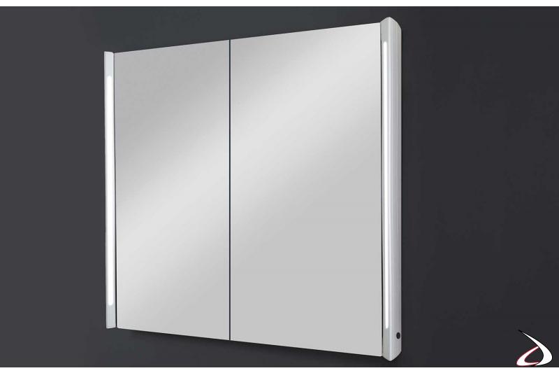 Specchio contenitore moderno da bagno con luci led