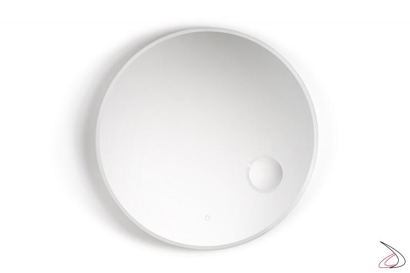 Specchio rotondo retroilluminato con funzione antiappannamento e ingranditore illuminato