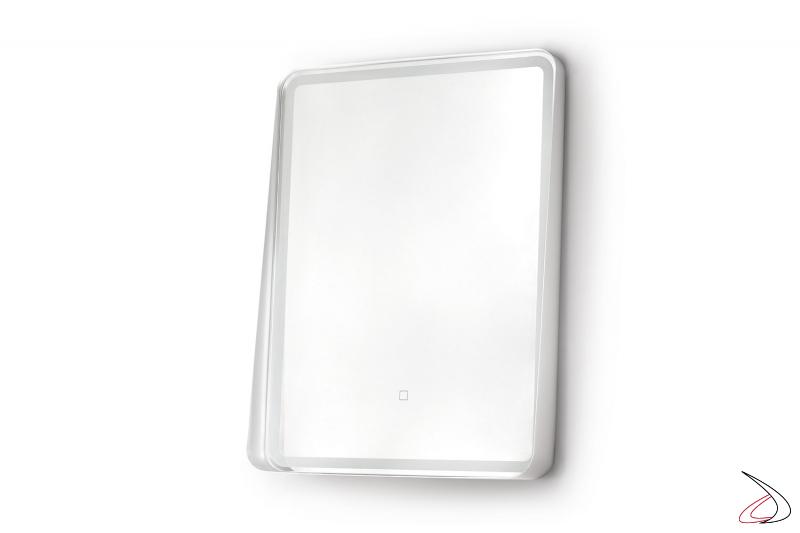 Specchio di design con cornice in metallo bianco e illuminazione a led con interruttore touch