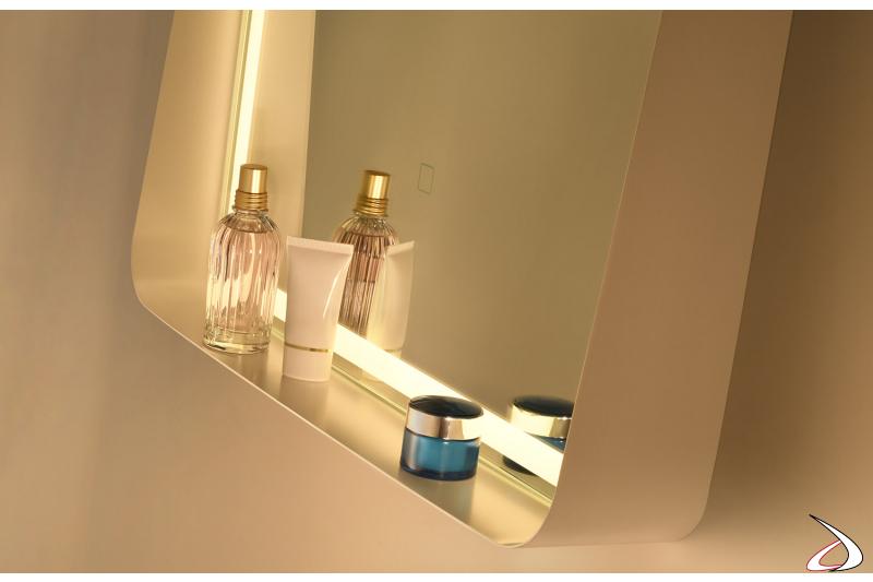 Specchio rettangolare da bagno con mensola e retroilluminazione a led