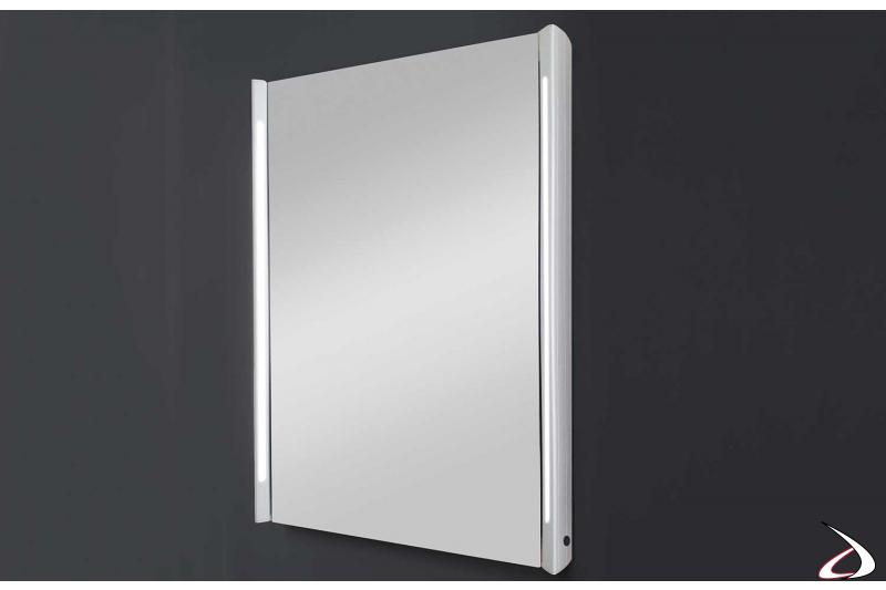 Specchio contenitore un anta moderno con luci led ai lati
