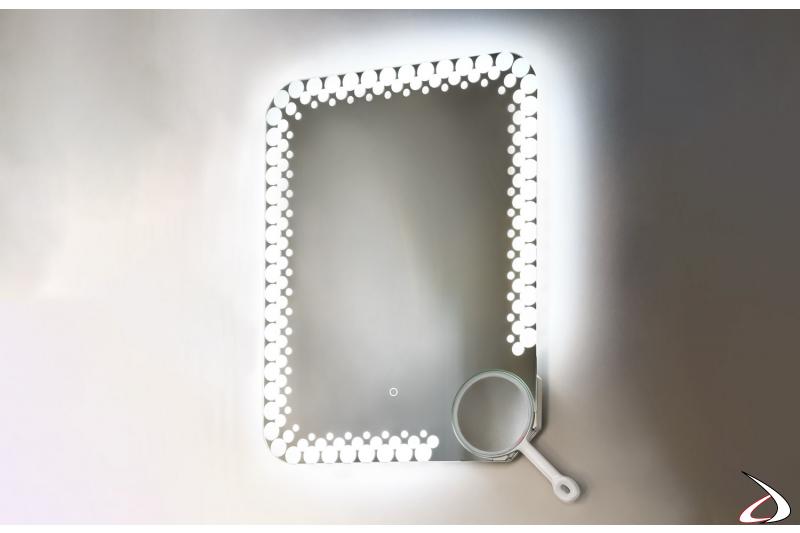 Specchio rettangolare retroilluminato a led con specchio ingranditore removibile