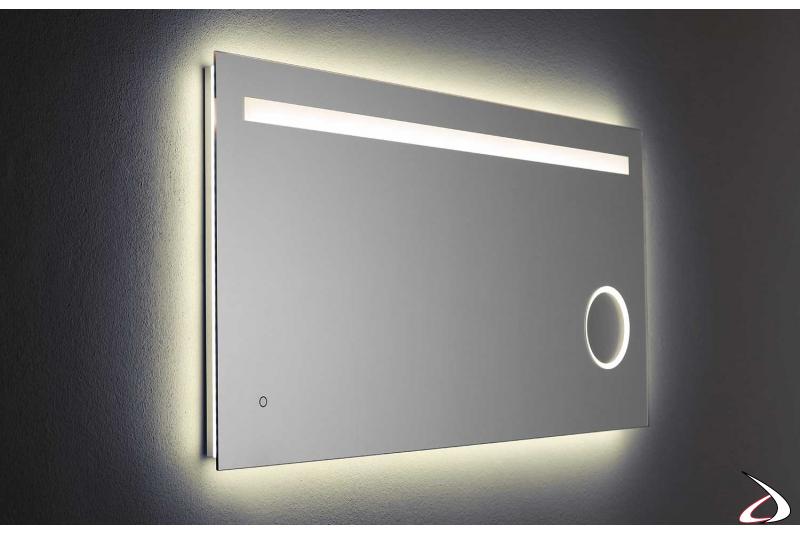 Specchio con ingranditore di design con led a luce calda 4000K