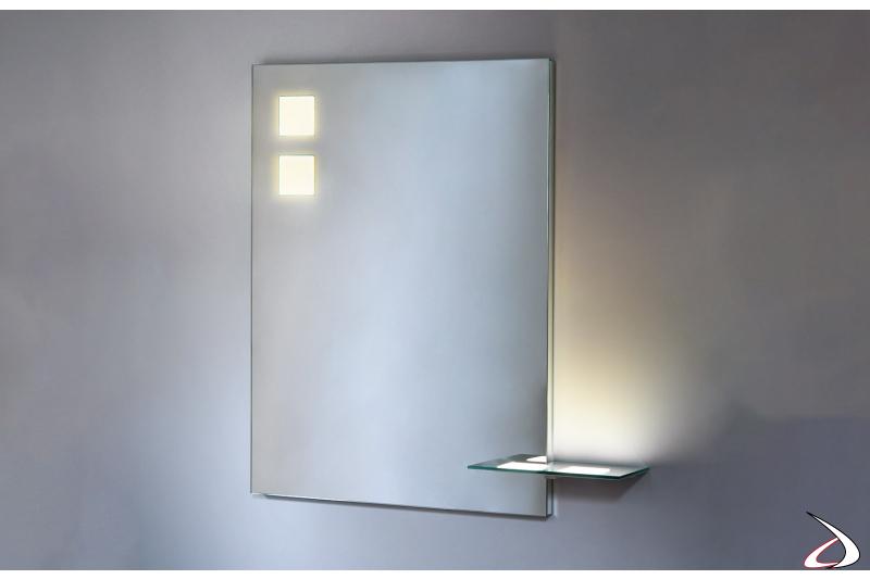 Specchiera moderna da bagno con mensola e retroilluminazione OLED