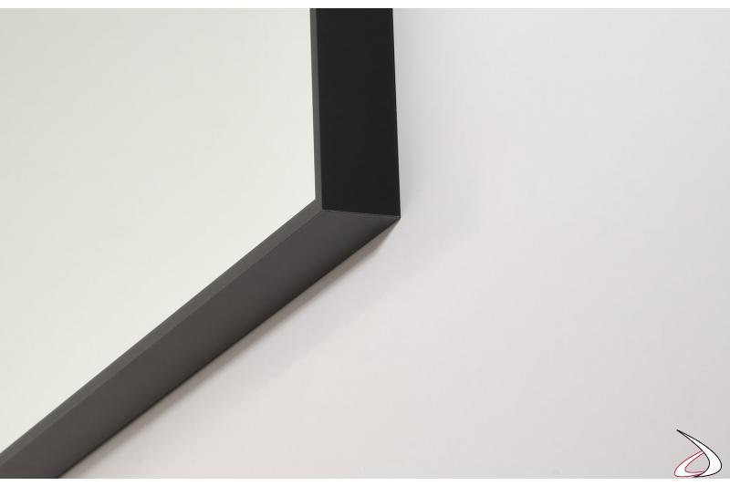 Specchiera da bagno rettangolare o quadrata con cornice in alluminio