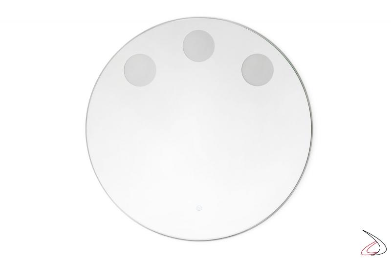 Specchio rotondo da bagno con 3 punti luce OLED