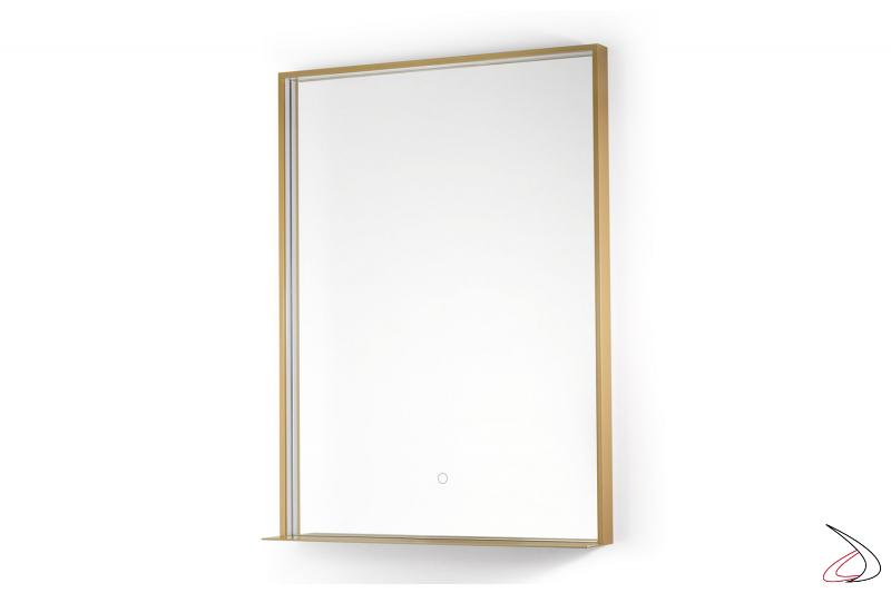 Specchio oro da bagno con mensola ricarica telefono wireless